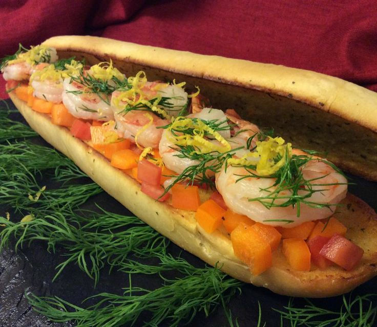 My black tiger cooked shrimp sub-sandwich.  Garnished with diced peppers  tomatoes mayonnaise  fresh dill and lemon. #blacktiger #shrimps #subsandwich #peppers #tomatoes #dill #fresh #mayonnaise #bread #sandwich #launch #instagramfood #food #seafood @syscocanada @sysco_corp @ocean_mama_seafood @syscowinnipeg @syscovancouver @syscovictoria @syscomoncton @syscoswo @sysco_regina_stir @syscocalgary @sysco_centralcabr @sysco_quebec @syscoboston @syscocentralontario @muccifarms @sobeys…