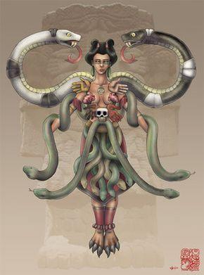 Esta diosa era llamada Coatlicue (náhuatl: cóatl-cuéitl, 'Señora de la falda de serpientes' )?, que por otros nombres también fue conocida como Teteoinan (náhuatl: téotl-nan, 'dios-madre' 'Madre de los dioses')? o Tonantzin (náhuatl: to-nan-tzin, 'Nuestra venerable madrecita' )?.