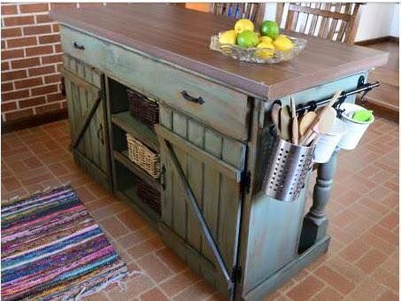 first build farmhouse kitchen island rack on the side of an island to keep clutter to a minimum on counters