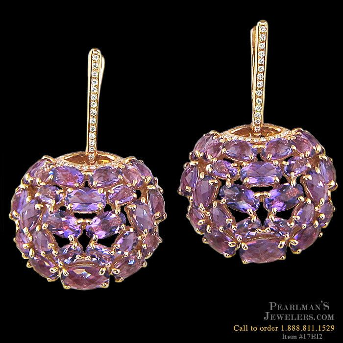 18K Gold Amethyst Earrings from BELLARRI. 43mm x 27mm. These earrings could have been seen on actress Mayim Bialik at the 2013 Emmy Awards.
