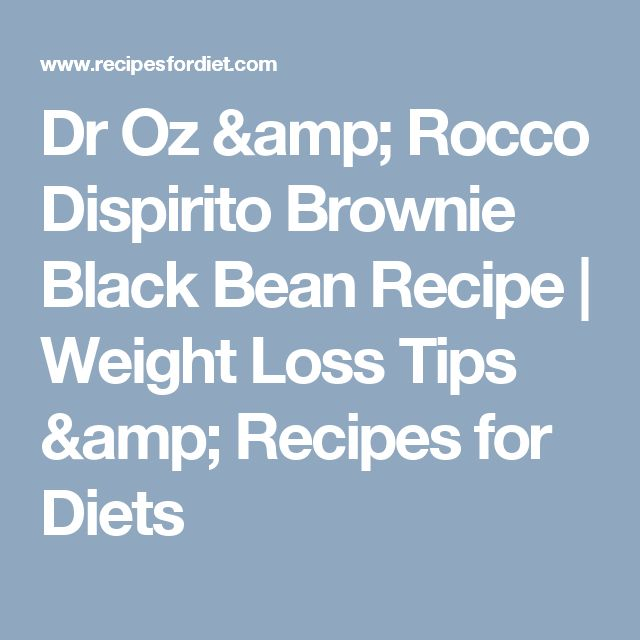 Dr Oz & Rocco Dispirito Brownie Black Bean Recipe | Weight Loss Tips & Recipes for Diets