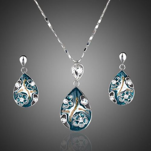 Platinum Plated Lady's Elegant Transparent Crystal Pendant Earring and Pendant Necklace Jewelry