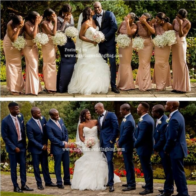 Nigerian Wedding Bridesmaids In Rose Gold Dress And