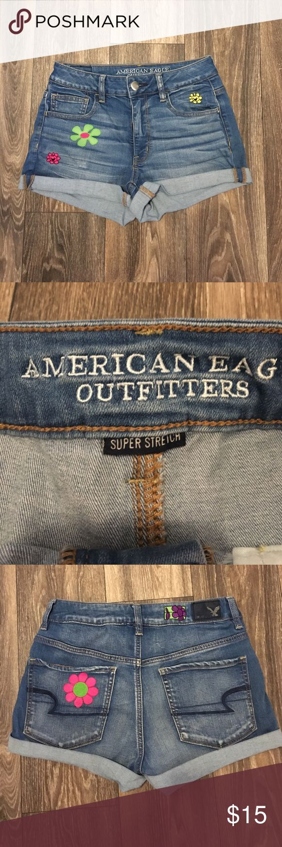 AEO shorts American eagle shorts with iron on flower patches. Worn once very gently. American Eagle Outfitters Shorts Jean Shorts