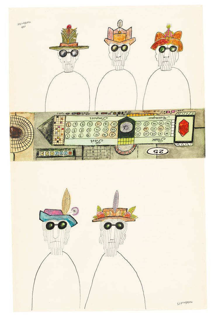 Gamblers I and II, 1951. Ink, watercolor, and crayon on two sheets of paper, 22 ½ x 14 in. The Art Institute of Chicago; Gift of The Saul Steinberg Foundation.