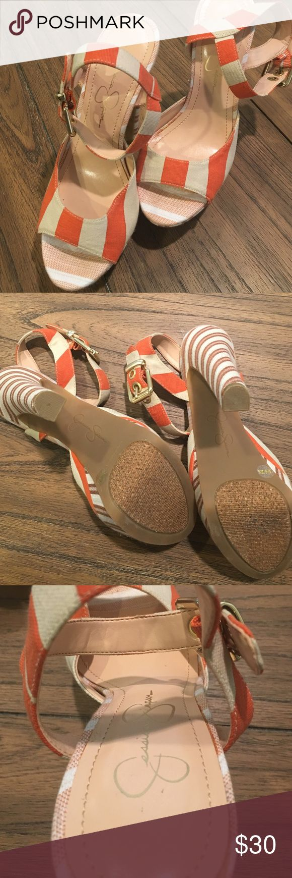 Jessica Simpson peep toe strappy heels Size 5.5: Orange and cream striped peep toe heels! Worn it once for a wedding. LOOKS BRAND NEW! Soles are in great condition!! Jessica Simpson Shoes Heels
