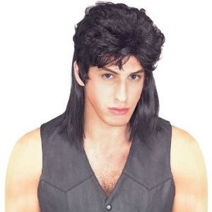 Private Island Party  - Black Mullet Wig, $3.30- $5.99   This Black Mullet Wig is perfect for a hillbilly costume or an 80's outfit. Made from 100% Synthetic with elastic netting, one size fits most.