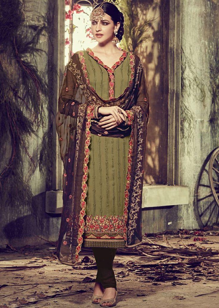 Phenomenal Green Colored Embroidered Faux Georgette Wedding Salwar Kameez Shop: https://goo.gl/nMoL7p