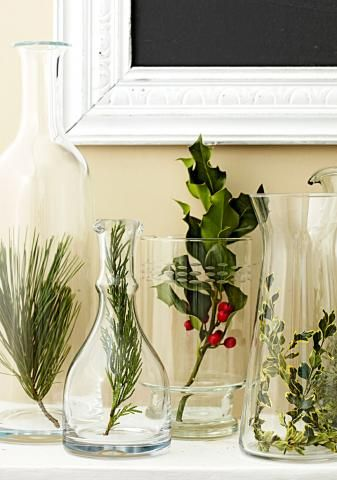 Start with evergreens, flowers and fruits to make nature-inspired Christmas decorations for your mantel, table or tree.