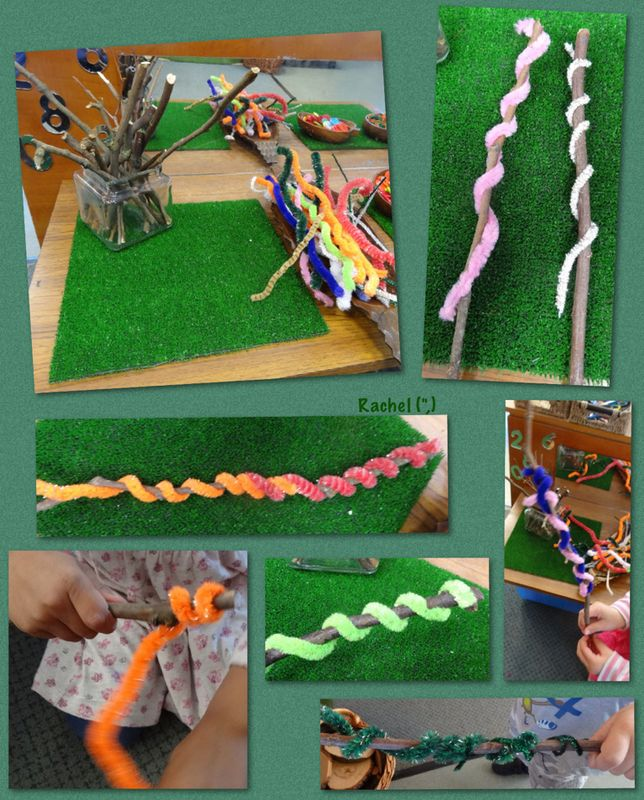 Stick Worms This idea came from My Creative Days. We've wrapped sticks in wool…