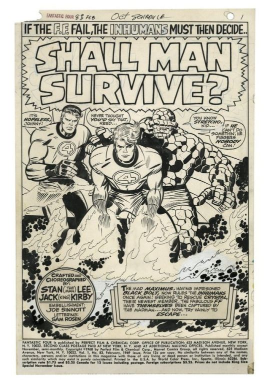 The splash page from Fantastic Four # 83 by Jack Kirby and Joe Sinnott.