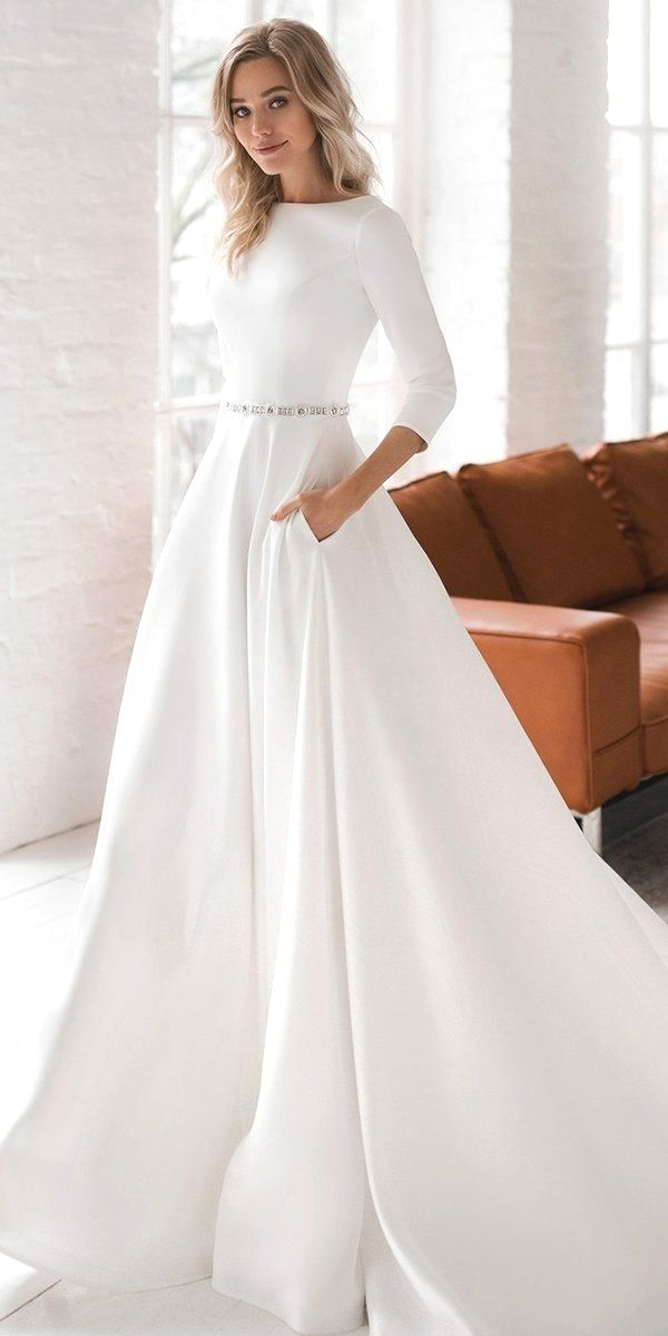 Modest Wedding Dresses That Are Unique In 2020 Modest Wedding Dresses Short Sleeve Wedding Dress Crepe Wedding Dress