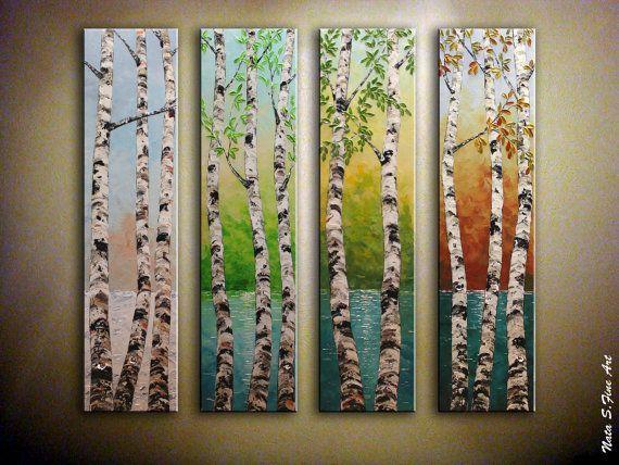 "Four Seasons Huge 48""x48"" Original Painting.Landscape.Impasto.Palette Knife.Lake,Birch Tree.Large Artwork  4 panels- by Nata - MADE to ORDER"