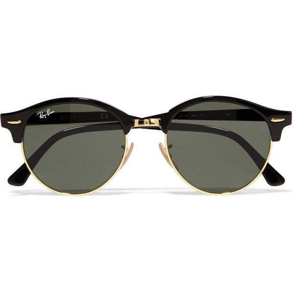 Ray-Ban Clubround acetate and metal sunglasses (£115) ❤ liked on Polyvore featuring accessories, eyewear, sunglasses, glasses, black, ray ban eyewear, metal-frame sunglasses, acetate sunglasses, lens glasses and metal glasses