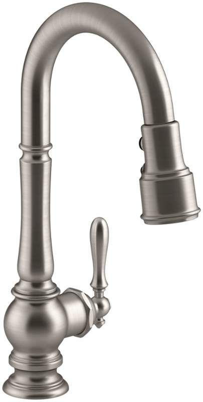 """Buy the Kohler K-99261-SN Vibrant Polished Nickel Direct. Shop for the Kohler K-99261-SN Vibrant Polished Nickel Artifacts Pullout Spray High-Arch 16"""" Kitchen Faucet with ProMotion, MasterClean and DockNetik Technologies and save."""