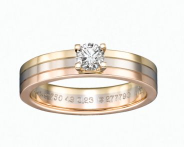 Three-Gold Solitaire ring by Cartier is a symbol of shared happiness