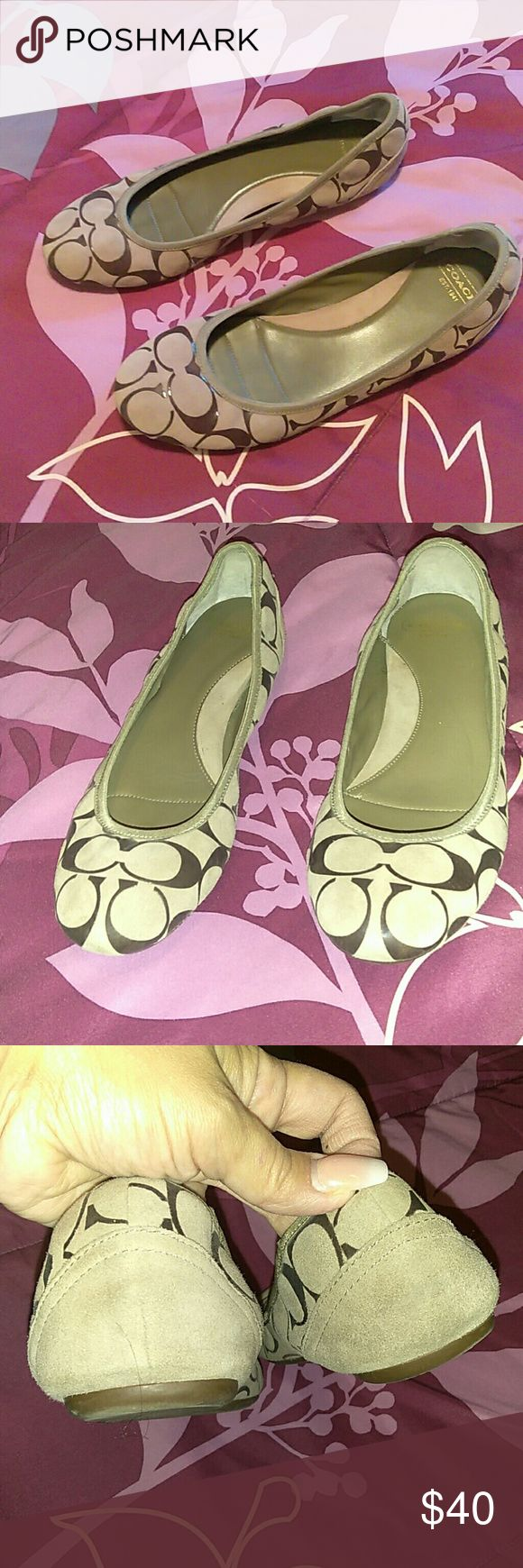 Coach flats Used condition. Minor leather cracks inside of flats by toes. Outside is almost excellent condition. Leather and authentic coach flats. Coach Shoes