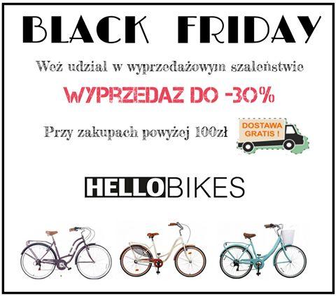 Hellobikes również obchodzi Czarny Piątek! Jeśli wcześniej nie mieliście okazji wpaść w szał zakupowego szaleństwa Black Friday to właśnie nadarza się ku temu jedyna taka okazja! Robiąc zakupy w naszym sklepie w dniach 24-25 listopada możesz skorzystać z wyprzedaży nawet do 30%!!!!! Dodatkowo, jeśli wydasz powyżej 100zł zajmiemy się dostarczeniem Twojej przesyłki za darmo na terenie całej Polski! Brzmi zachęcająco? Też tak uważamy.. zatem gotowi? Świąteczne zakupy czas start!