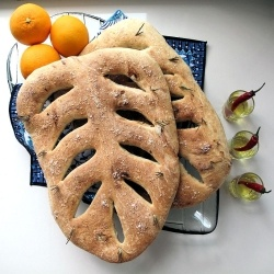 Provencal Fougasse bread with rosemary, figs and orange zest