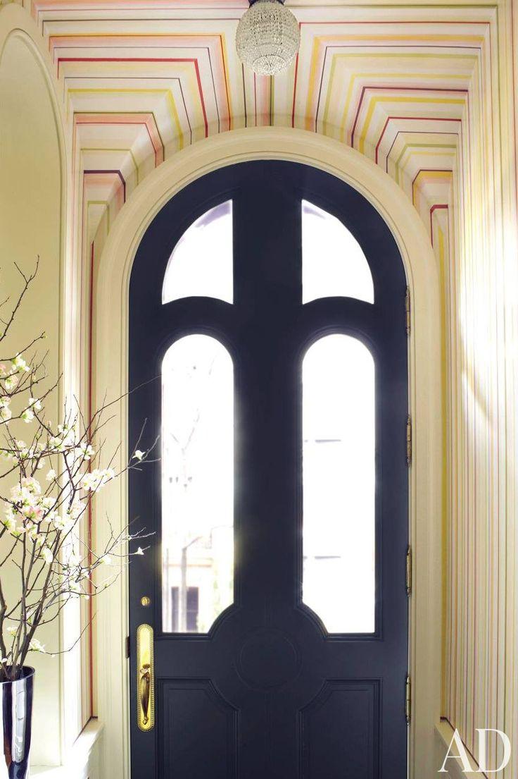 In case I ever replace my arched front door: Interiors Doors, Entry Doors, Black Doors, Blue Doors, Front Doors, Arches Doors, Entrance Hall, Architecture Digest, Doors Colors