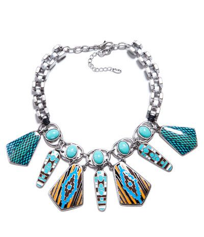 TURQUOISE TRIBAL LACQUERED NECKLACE