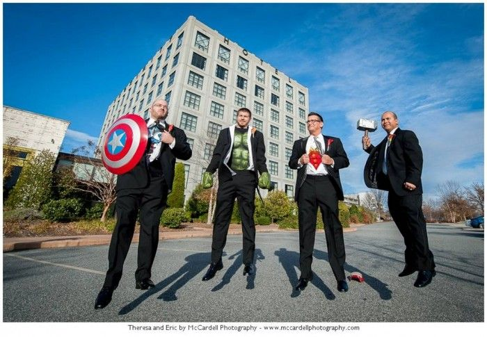 Groomsmen in Avengers Costumes | Greensboro, NC Wedding Proximity Hotel | Leigh Pearce Weddings | McCardell Photography
