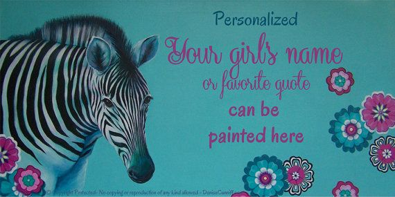 "#Zebra girls room decor, #Tiffany blue decor with magenta and teal, Large personalized canvas wall art. Original #Zebra painting by Denise Cunniff. ArtFromDenise.com 18""x36"""