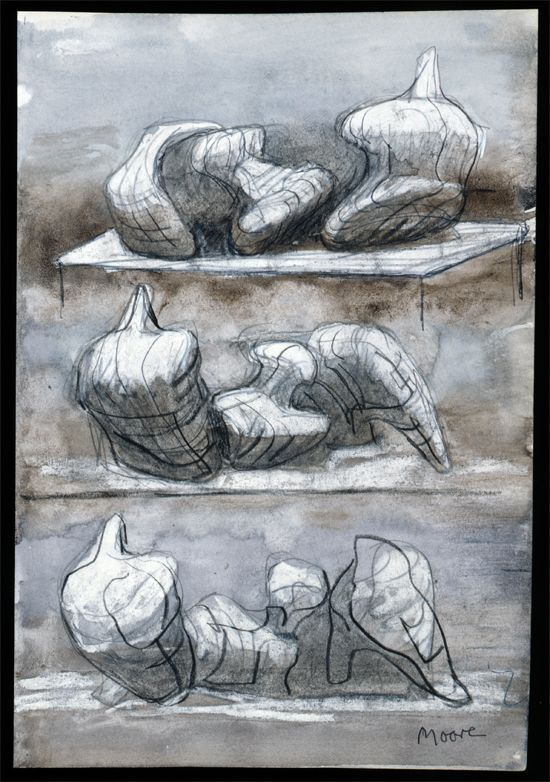 Three Reclining Figures 1975 HMF 75(8) watercolour wash, charcoal, chalk, gouache on blotting paper 263 x 217mm photo: The Henry Moore Found...