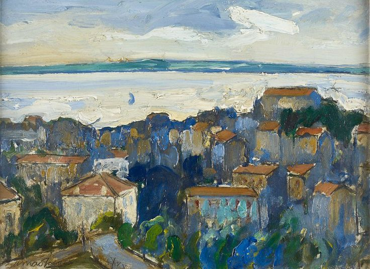 § SIR WILLIAM MACTAGGART P.P.R.S.A., R.A., R.S.W. (SCOTTISH 1903-1981) CANNES FROM THE BEAU LIEU 31cm x 41cm (12in x 16in) Estimate: £3000 - 5000