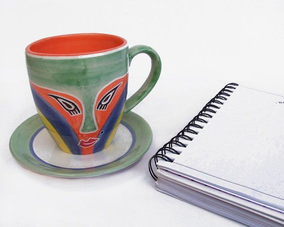Hand painted coffee mugs + free saucer | Thoughful unique gift | Beautiful green, orange, blue and yellow lady mask coffee mug and tea cup