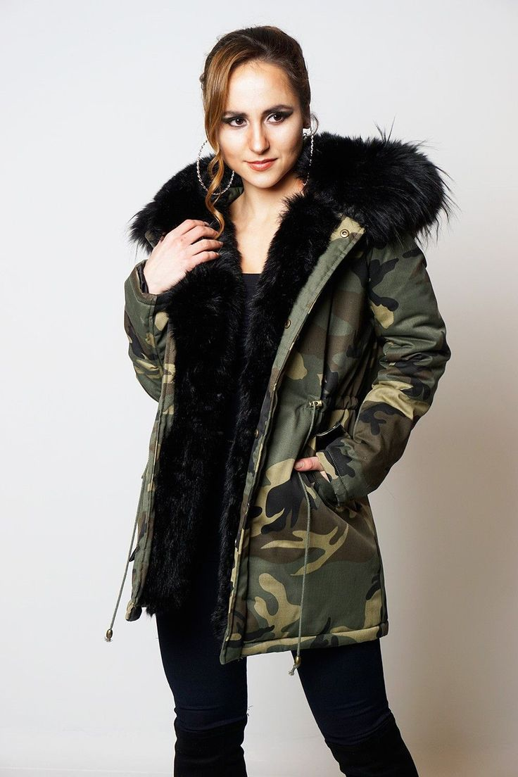 Tiffany Black Camouflage Faux Fur Hooded Coat