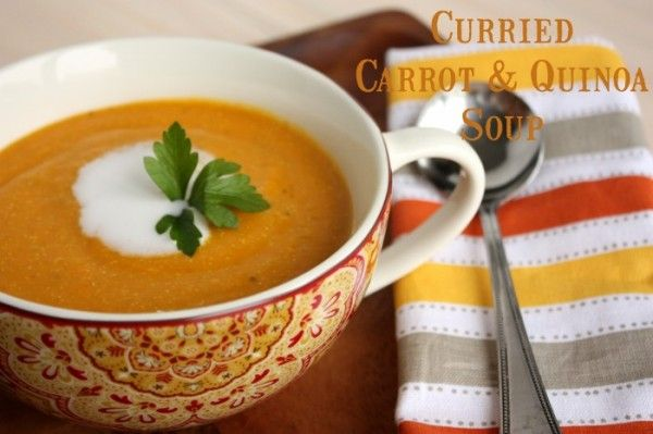 Recipe for Healthy Gluten-Free Diet: Curried Carrot quinoa soup    Ingredients:    1-2 tablespoons of cooking oil  1lb of organic carrots washed and chopped  4 ribs of celery chopped  1 large yellow onion diced  2-3 cloves of garlic minced  1 and a half teaspoons grated fresh ginger  1 and a half teaspoons Jamaican Curry Powder  1 bay leaf  1 teaspoon fine sea salt (or to taste)  Fresh ground black pepper to taste  1/2 cup dried quinoa rinsed well  3 cups of broth  1 cup of dairy free milk