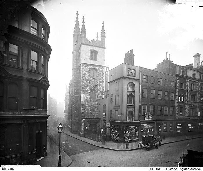 BL10604 The tower of the church of St Andrew Undershaft, seen from the junction…