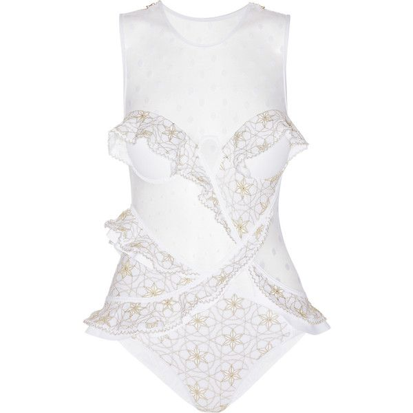Zimmermann Tarot Contour Florence ruffled swimsuit (1.315 RON) ❤ liked on Polyvore featuring swimwear, one-piece swimsuits, white, white ruffle swimsuit, white ruffle bathing suit, swim suits, swimsuit swimwear and ruffle bathing suit