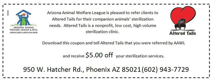 5$ off low cost spay/neuter clinic in Phoenix, AZ courtesy of Arizona Animal Welfare League