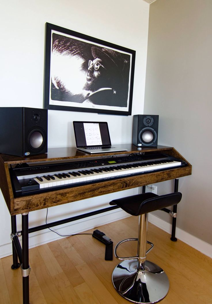 cherry wood piano stand studio work station with pipe legs music room decorating musicroom in 2019 meuble bureau salle