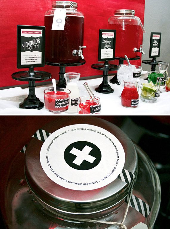 halloween party ideas vampire cocktails blood bar drink printables instructions recipes - Vampire Halloween Decorations
