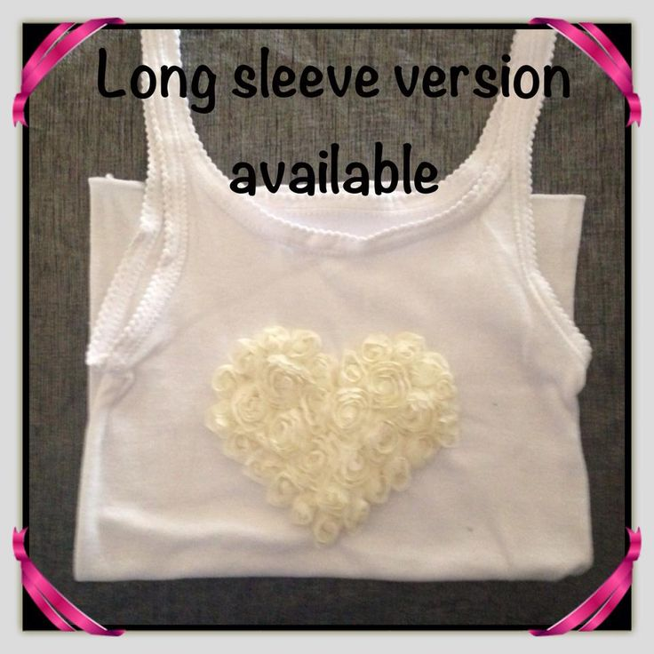 Girl's Cotton Stretch handmade singlet with White Heart embellishment with sizing from 1-2 to 9-10. Also available in long sleeve design.    Available to pre-order from www.maxidressheaven.com #girl #clothing #handmade #singlet