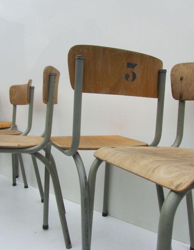 schoolstoelen, industriele vintage, buisframe, stoelen,Tubax, geleefd