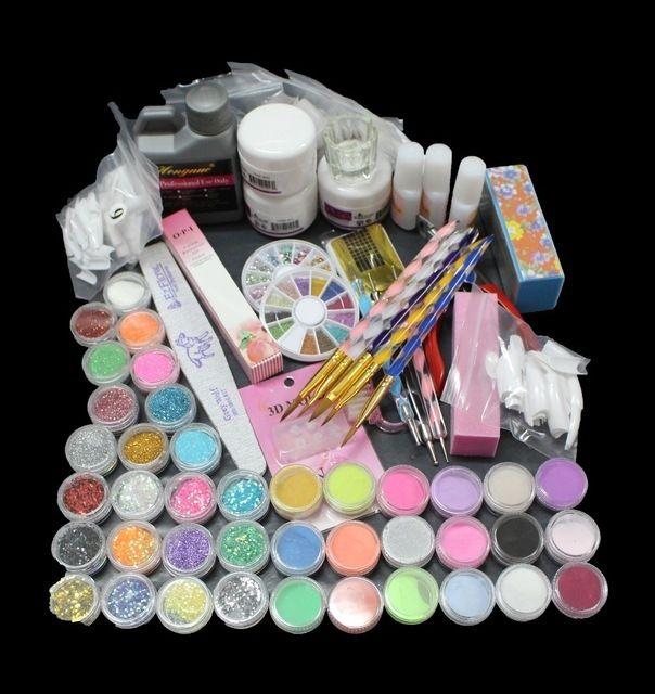 30.00$  Watch here - http://alil0a.shopchina.info/1/go.php?t=32620522874 - UC-94 Professional 42 Acrylic Liquid Powder Glitter Clipper Primer File Nail Art Tips Tool Brush Tools Set Kit new 30.00$ #aliexpressideas