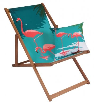Flamingo deck chair & flamingo reversible cushion