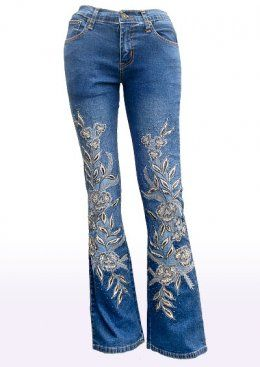 hand embroidery beading on jeans