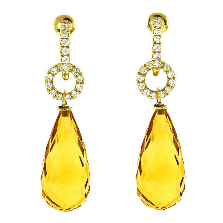 Citrine & Diamond Drop Earrings.