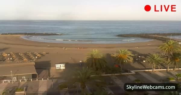 Lovely live view of the Playa de Troya Beach along Costa Adeje