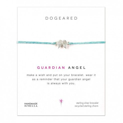 Dogeared Silver Guardian Angel Wings Linen Bracelet