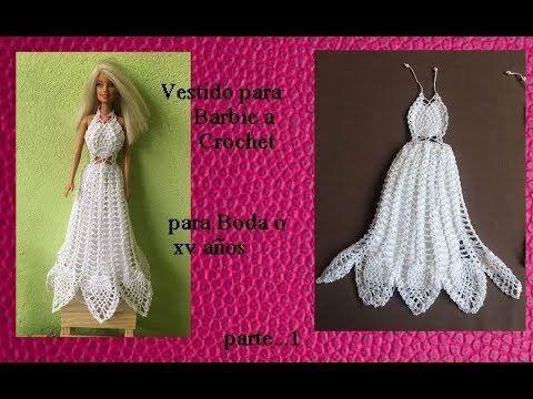 Vestido  de novia o 15 años a crochet para barbie ( parte 1)