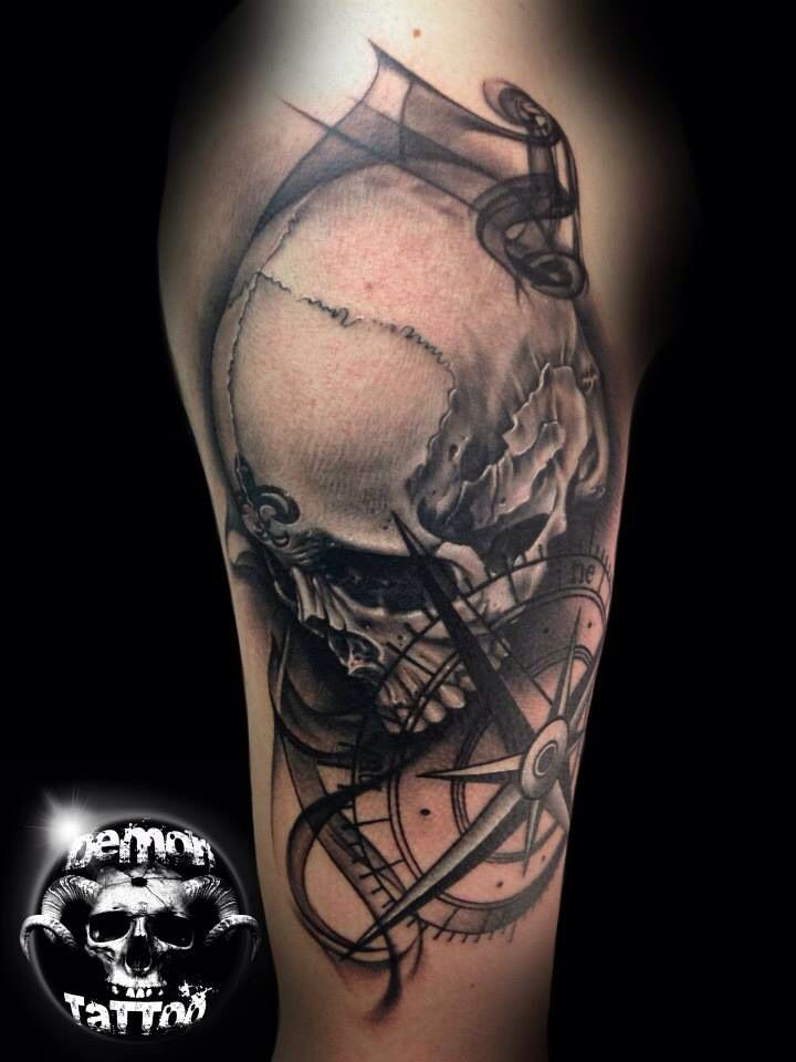 Skull and compass tattoo | tattoo | Pinterest | Compass ...
