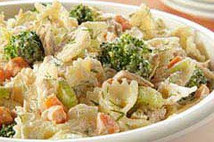 Tangy Tuna Pasta Salad   http://www.kraftrecipes.com/recipes/tangy-tuna-pasta-salad-52189.aspx