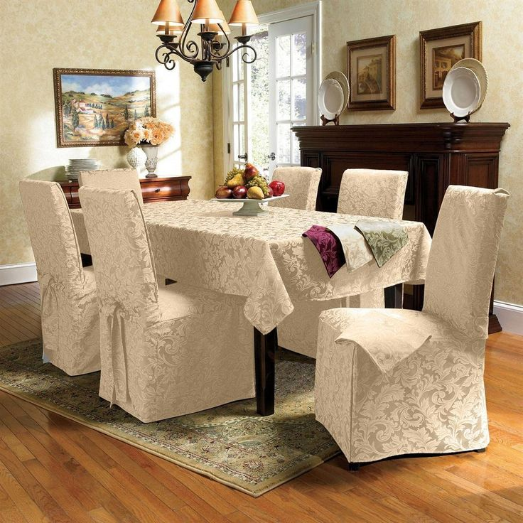 Genoa Jacquard Dining Sets Includes Chair Covers Napkins And Tablecloths