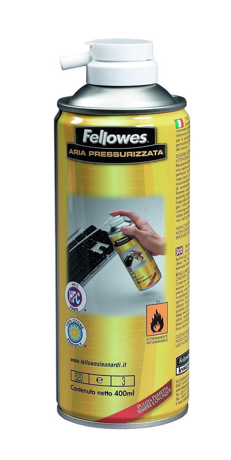ARIA COMPRESSA 400 ML Kit Pulizia, bombola da 400 ml di aria pressurizzata. Consente di eliminare polvere e residui dalle fessure più irraggiungibili. Ideale per ogni tipo di apparecchiatura elettrica ed elettronica. Non contiene CFC né fosfati Prodotta nel rispetto delle attuali normative vigenti Bomboletta da 400 ml